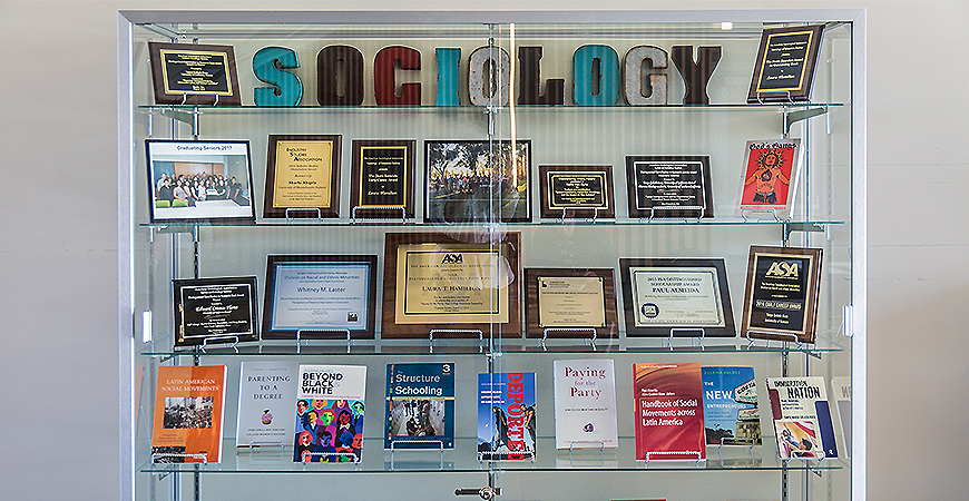 The Sociology bookcase on the second floor of Classroom and Office 2 Building.